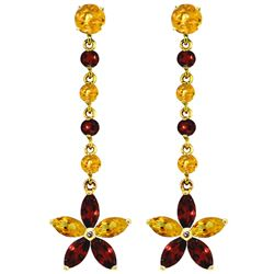ALARRI 4.8 CTW 14K Solid Gold Stardrop Citrine Garnet Earrings