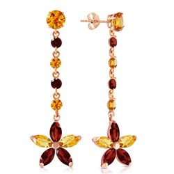 ALARRI 14K Solid Rose Gold Chandelier Earrings w/ Citrines & Garnets