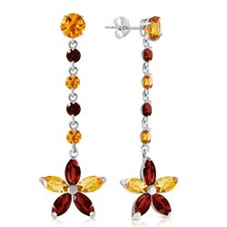 ALARRI 4.8 Carat 14K Solid White Gold No Machinations Citrine Garnet Earrings