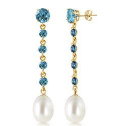 ALARRI 10 CTW 14K Solid Gold Chandelier Earrings Blue Topaz Pearl