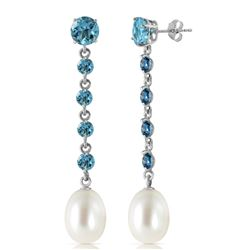 ALARRI 10 Carat 14K Solid White Gold Chandelier Earrings Blue Topaz Pearl