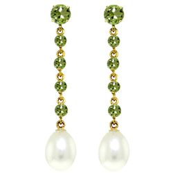 ALARRI 10 Carat 14K Solid Gold Chandelier Earrings Peridot Pearl