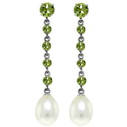 ALARRI 10 Carat 14K Solid White Gold Chandelier Earrings Peridot Pearl