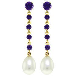 ALARRI 10 CTW 14K Solid Gold New View Amethyst Pearl Earrings