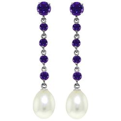 ALARRI 10 Carat 14K Solid White Gold Ravished Spirit Amethyst Pearl Earrings