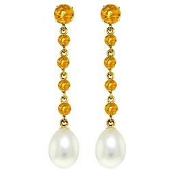 ALARRI 10 Carat 14K Solid Gold Chandelier Earrings Citrine Pearl