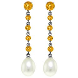 ALARRI 10 CTW 14K Solid White Gold Chandelier Earrings Citrine Pearl