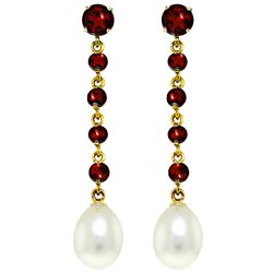 ALARRI 10 Carat 14K Solid Gold Chandelier Earrings Garnet Pearl