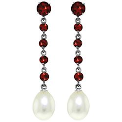 ALARRI 10 Carat 14K Solid White Gold Chandelier Earrings Garnet Pearl