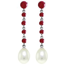 ALARRI 10 Carat 14K Solid White Gold Chandelier Earrings Ruby Pearl