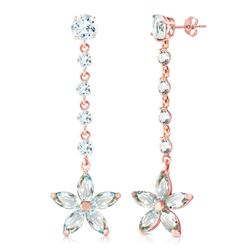 ALARRI 14K Solid Rose Gold Chandelier Earrings w/ Aquamarines