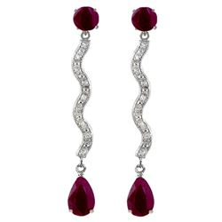 ALARRI 4.35 Carat 14K Solid Gold Earrings Natural Diamond Ruby