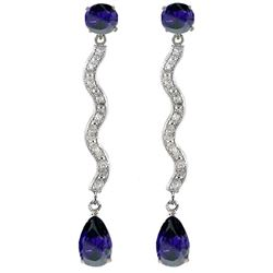 ALARRI 14K Solid White Gold Earrings w/ Natural Diamonds & Sapphires