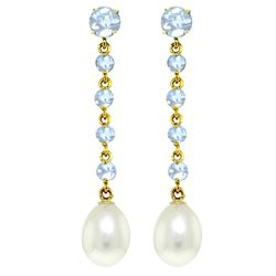 ALARRI 10 Carat 14K Solid Gold Chandelier Earrings Natural Aquamarine