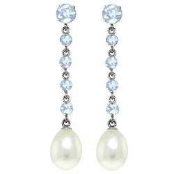 ALARRI 10 Carat 14K Solid White Gold Chandelier Earrings Natural Aquamarine