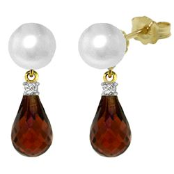 ALARRI 6.6 CTW 14K Solid Gold Stud Earrings Diamond, Garnet Pearl