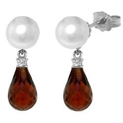 ALARRI 6.6 Carat 14K Solid White Gold Stud Earrings Diamond, Garnet Pearl