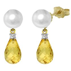 ALARRI 6.6 CTW 14K Solid Gold Stud Earrings Diamond, Citrine Pearl