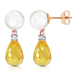 ALARRI 14K Solid Rose Gold Stud Earrings w/ Diamonds, Citrine & Pearl