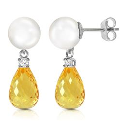 ALARRI 6.6 Carat 14K Solid White Gold Stud Earrings Diamond, Citrine Pearl