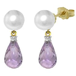ALARRI 6.6 CTW 14K Solid Gold Stud Earrings Diamond, Amethyst Pearl