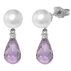 ALARRI 6.6 Carat 14K Solid White Gold Stud Earrings Diamond, Amethyst Pearl