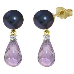 ALARRI 6.6 Carat 14K Solid Gold Stud Earrings Diamond, Amethyst Black Pearl
