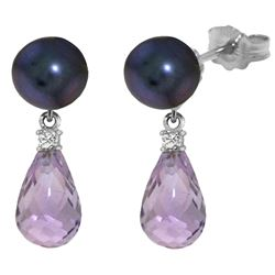 ALARRI 6.6 CTW 14K Solid White Gold Stud Earrings Diamond, Amethyst Black Pearl