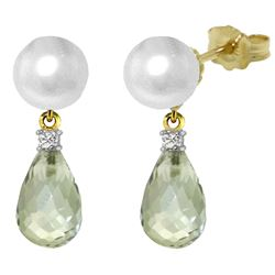 ALARRI 6.6 Carat 14K Solid Gold Stud Earrings Diamond, Green Amethyst Pearl