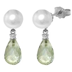ALARRI 6.6 Carat 14K Solid White Gold Stud Earrings Diamond, Green Amethyst Pearl