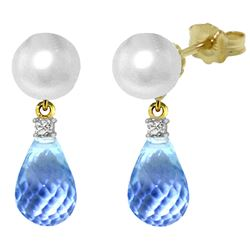 ALARRI 6.6 CTW 14K Solid Gold Stud Earrings Diamond, Blue Topaz Pearl