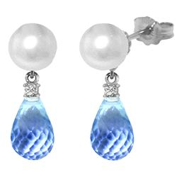 ALARRI 6.6 Carat 14K Solid White Gold Stud Earrings Diamond, Blue Topaz Pearl
