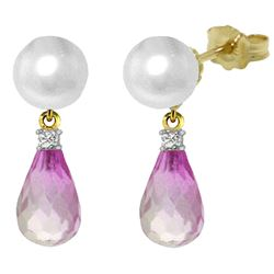 ALARRI 6.6 CTW 14K Solid Gold Stud Earrings Diamond, Pink Topaz Pearl