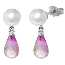 ALARRI 6.6 Carat 14K Solid White Gold Stud Earrings Diamond, Pink Topaz Pearl
