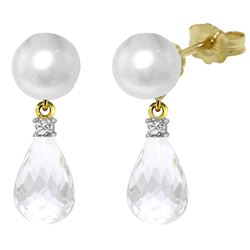 ALARRI 6.6 Carat 14K Solid Gold Stud Earrings Diamond, White Topaz Pearl