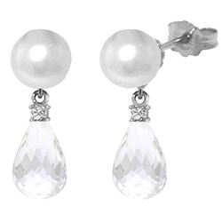 ALARRI 6.6 Carat 14K Solid White Gold Stud Earrings Diamond, White Topaz Pearl