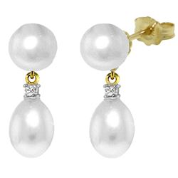 ALARRI 10.1 Carat 14K Solid Gold Not Faded Love Pearl Diamond Earrings