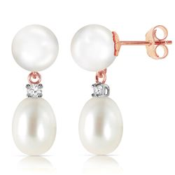 ALARRI 14K Solid Rose Gold Stud Earrings w/ Diamonds & Pearls