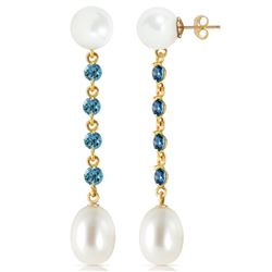 ALARRI 11 CTW 14K Solid Gold Pearly View Blue Topaz Pearl Earrings