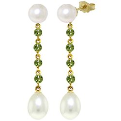 ALARRI 11 CTW 14K Solid Gold Pearly View Peridot Pearl Earrings