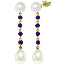 ALARRI 11 Carat 14K Solid Gold Pearly View Amethyst Pearl Earrings