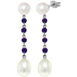 ALARRI 11 CTW 14K Solid White Gold Hope In A Jar Amethyst Pearl Earrings