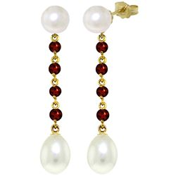 ALARRI 11 Carat 14K Solid Gold Pearly View Garnet Pearl Earrings