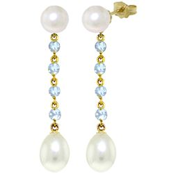 ALARRI 11 CTW 14K Solid Gold Chandelier Earrings Aquamarine Pearl