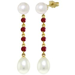ALARRI 11 Carat 14K Solid Gold Pearly View Ruby Pearl Earrings