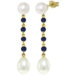 ALARRI 11 CTW 14K Solid Gold Chandelier Earrings Sapphire Pearl