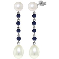 ALARRI 11 Carat 14K Solid White Gold Chandelier Earrings Sapphire Pearl