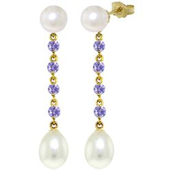 ALARRI 11 CTW 14K Solid Gold Chandelier Earrings Tanzanite Pearl