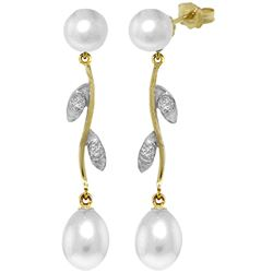 ALARRI 10.02 Carat 14K Solid Gold Magnifique Pearl Diamond Earrings