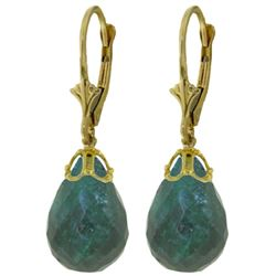 ALARRI 29.6 CTW 14K Solid Gold Leverback Earrings Briolette Emerald